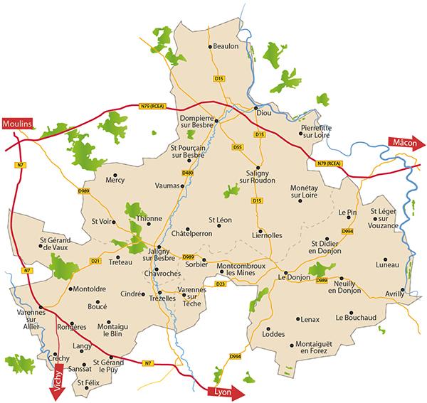 Carte du territoire Entr'Allier Besbre et Loire